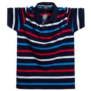 Image 2 - الرجال قميص بولو الصيف الرجال عادية تنفس حجم كبير 5XL 6XL مخطط قميص بولو بكم قصير قميص بولو القطن الخالص موضة الرجال الملابس