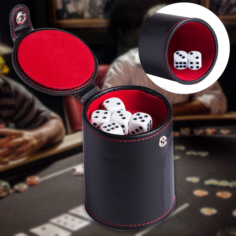 Mute Bar Party PU Leather Professional Game Supplies Gambling KTV Storage Compartment Lined Dice Cup Clubs Shaker Casino