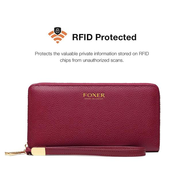 FOXER 100% Genuine Leather Wallet Lady Luxury Long Purse Card Slot Women Money Bag Cowhide Phone Bag Female Bank Holder ID Case 6