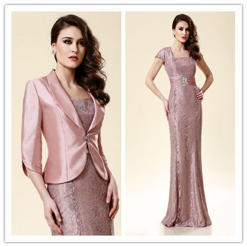 Custom-made Hot Sexy Vestido De Festa Madrinha 2016 Gorgeous Long Mother Of The Bride Lace Dresses With Jacket Free Shipping