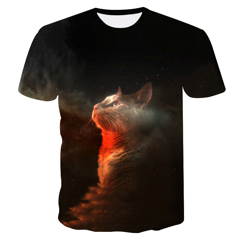 Summer Cat Printed T Shirt Cat At Night Lovely Short Sleeve Men/Women O-Neck Tops Animal 3D Printed Tshirt Streetwear