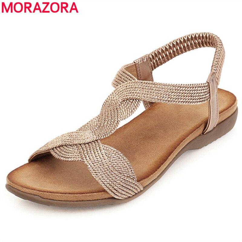 MORAZORA Big Size 34-43 Hot Sale Summer Sandals Women Casual Shoes Ladies Flat Sandals Gold Silver Bohemian Women Sandals