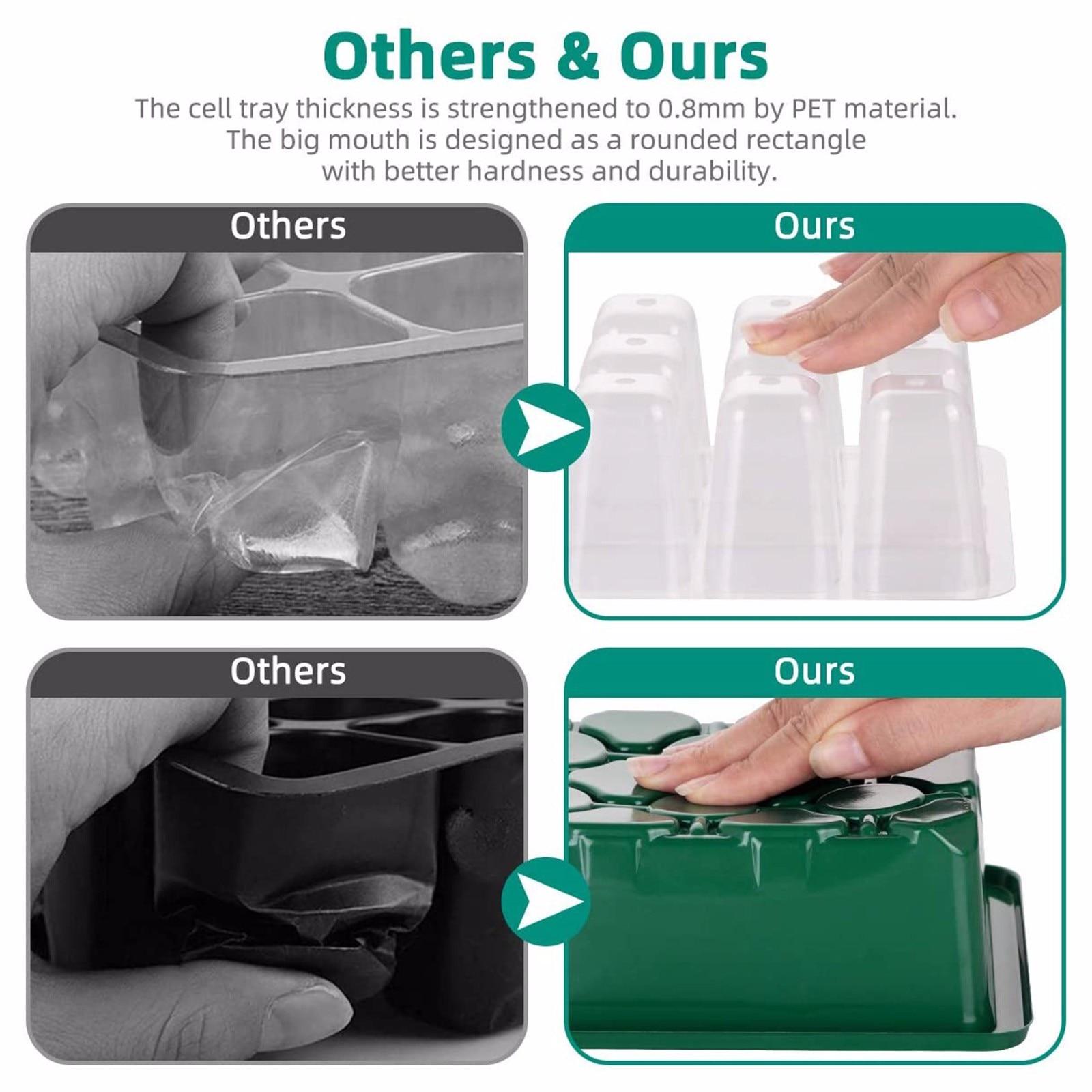 10-pack Seed Starter Trays Nursery Pots Seedling Tray Humidity Adjustable