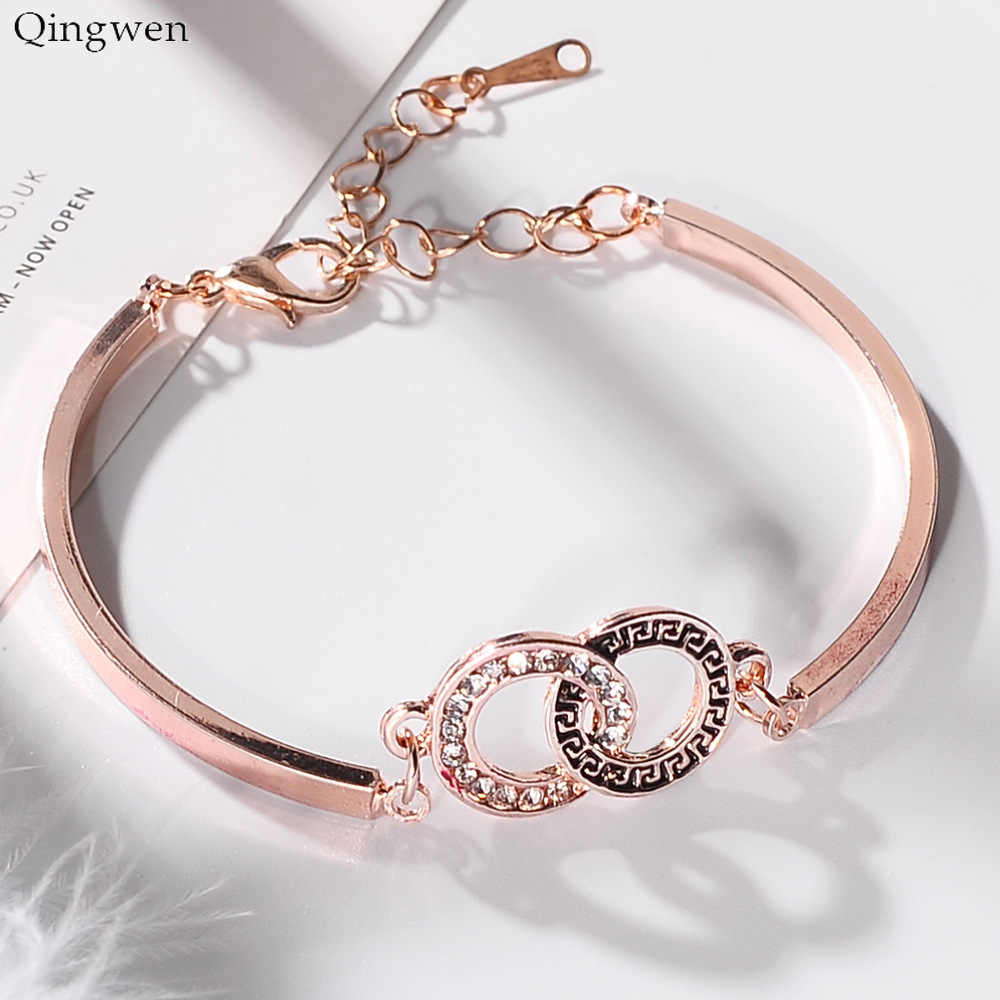 Qingwen Fashion Jewelry Rose Gold Bracelet Concentric Circle Pendant Bracelet Charm Jewelry for Women