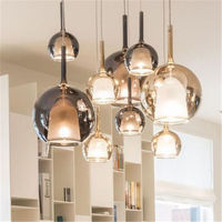 nordic Smoke gray glass pendant lights for mini bar counter cafe Italian design stairs hanging lamp indoor fixture led luminaire