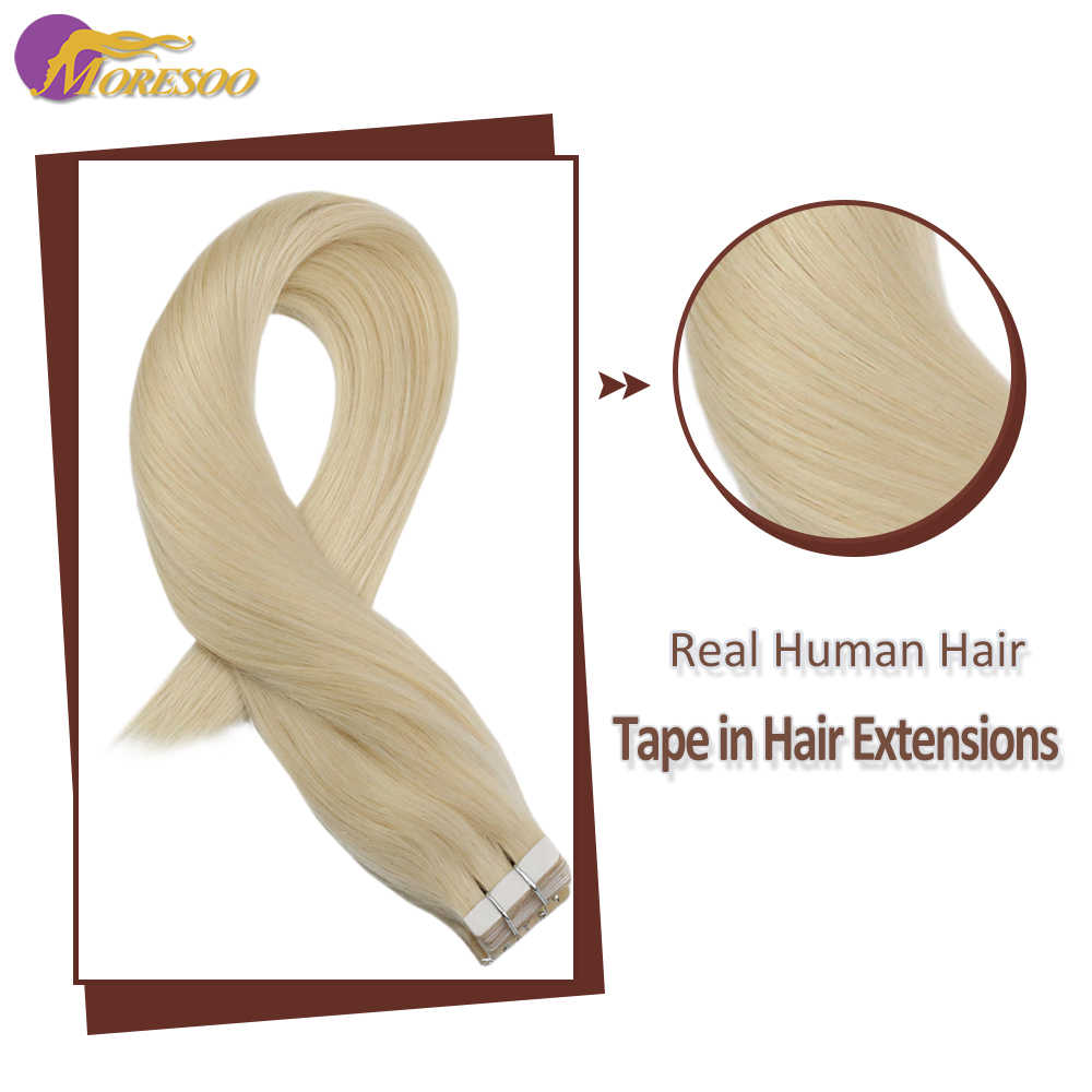 Moresoo Machine Remy Tape In Hair Extensions Braziliaanse Menselijk Haar Huid Inslag Platinum Blonde #60 20G-100G 14-24 Inch Tape Hair