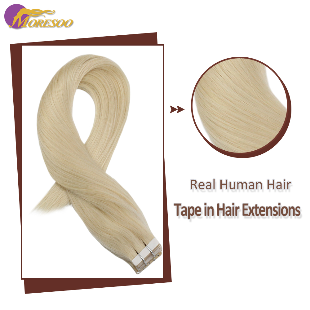 Moresoo Machine Remy Tape In Hair Extensions Brazilian Human Hair Skin Weft Platinum Blonde #60 20G-100G 14-24 Inch Tape Hair