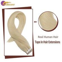 цена на Moresoo Machine Remy Tape In Hair Extensions Brazilian Human Hair Skin Weft Platinum Blonde #60 20G-100G 14-24 Inch Tape Hair