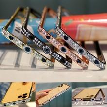 Brilhante diamante gliter casos de telefone para iphone 11 pro max x xs xr 6 7 8 plus metal jóias pára choques bling capas para iphone capas