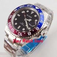 Bliger 40mm GMT 3804 automatic men's watch sapphire glass black dial luminous date window  178