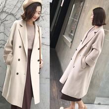 2019 new woolen long coat large size female autumn and winter Korean trend thickening warm fat sister 200 pounds