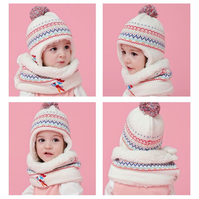 Toddler Kid Winter Warm Plush Lined Pompom Embroidery Earflap Hat Infinity Scarf 40JF