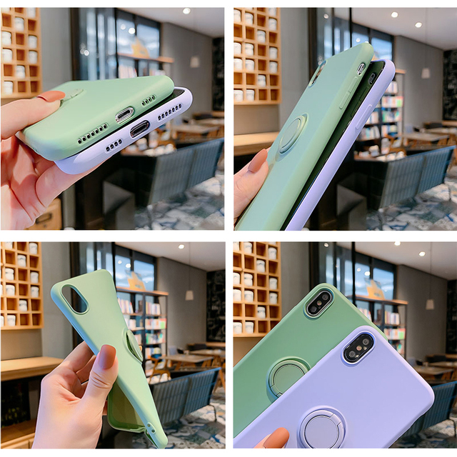Soft Silicone Case For iPhone 11 Pro iPhone11 XS Max 6Plus 7Plus 8Plus XR X 7 8 6 S 6S Plus Ring Holder Stand Silicon Back Cover
