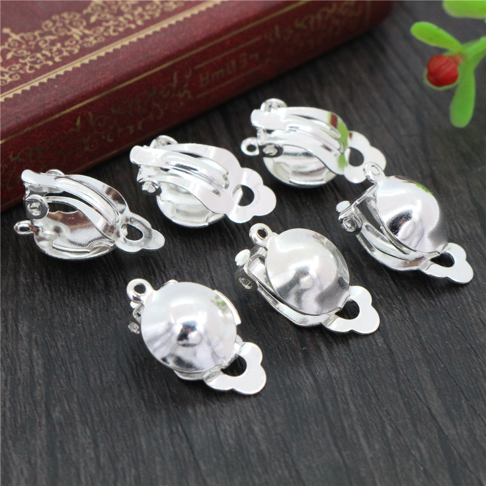 12mm 20pcs/lot Iron Material Ear Clips Silver Plated Colors ,Earrings Blank/Base,Fit 12mm Glass Cabochons,earring Setting-S2-33