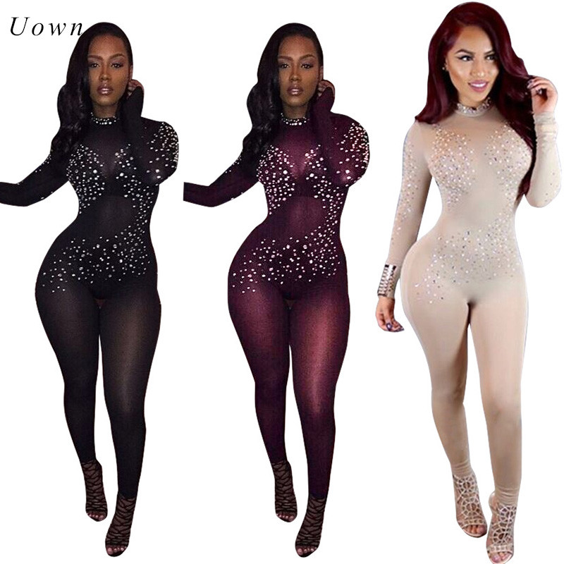 Long Sleeve See Through Bodycon   Jumpsuit   Women Rhinestone Embellished Sexy Sheer Mesh Transparent Long Rompers Club   Jumpsuits