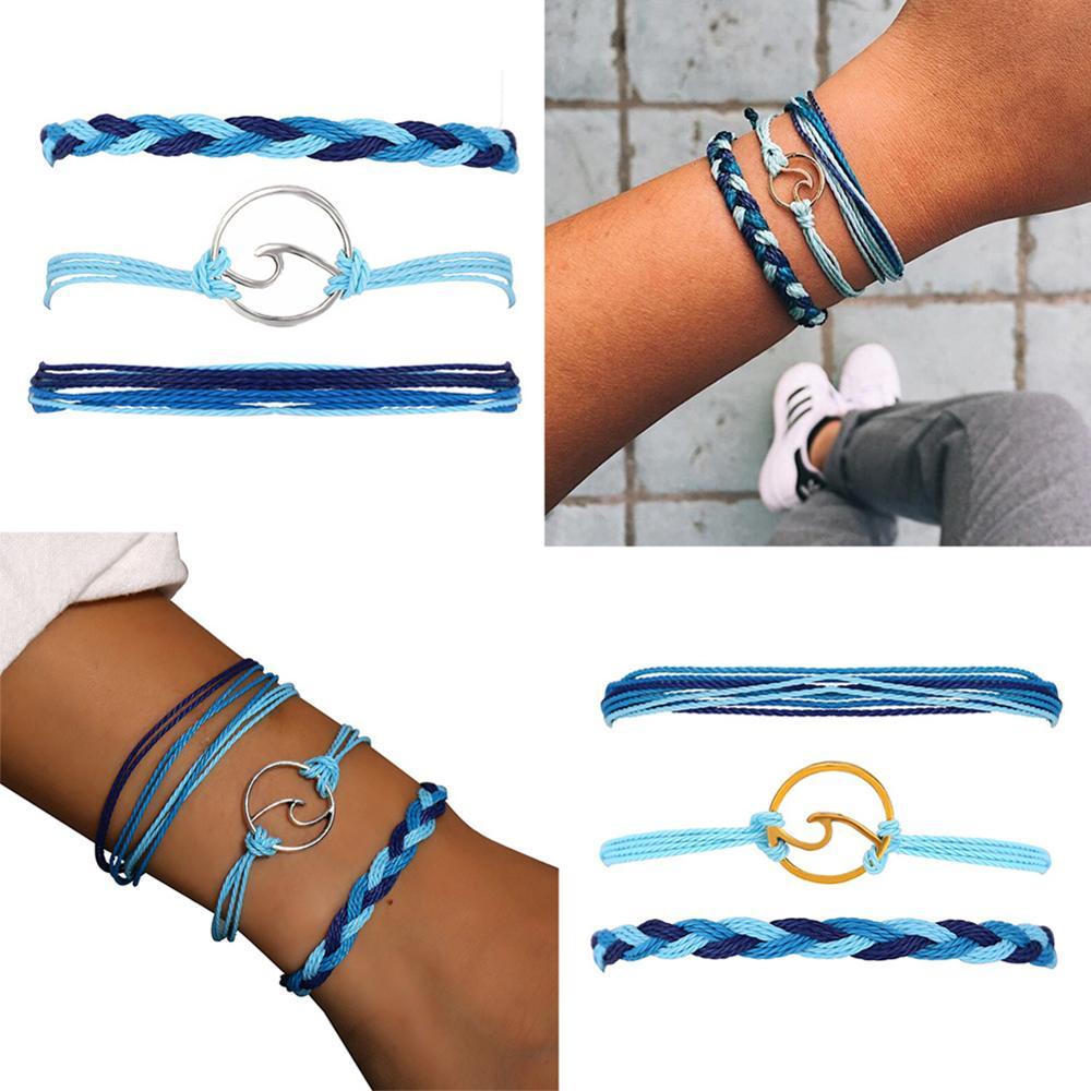 Praia hippie surf pulseiras boho vintage multicamadas artesanal onda pulseiras definir corda corrente charme ajustável pulseiras menina jóias