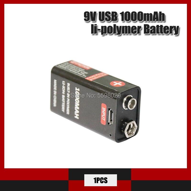Bateria de íon de lítio recarregável, bateria recarregável de 1000mah 6f22 usb detector de bateria recarregável, brinquedo