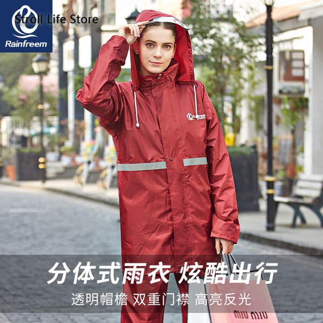 Adult Raincoat Set Men and Women  Motorcycle Electric Car Red Blue Rain Coat Poncho Jacket Double-Layer Nylon Waterproof Gift