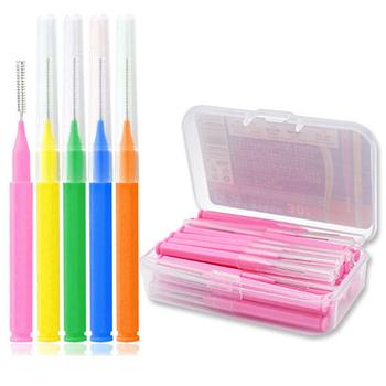 30 sztuk pudło szczoteczka międzyzębowa nić dentystyczna międzyzębowe środki czyszczące ortodontyczna szczoteczka do zębów dentystycznych wykałaczka higiena jamy ustnej przybory do pielęgnacji tanie i dobre opinie Jiauting CN (pochodzenie) Interdental Brush 30 PCS box dla dorosłych PE plastic + brush + steel wire