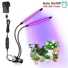 30W Grow Light Phyto Lamps Succulents for Plants Flowers  Seedling Grow Box 2 Head Divided Adjustable Desktop Clip Vegetable