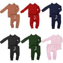 Комплект из 2 предметов; однотонный топ и штаны; пижамный комплект; комплекты одежды для сна для малышей