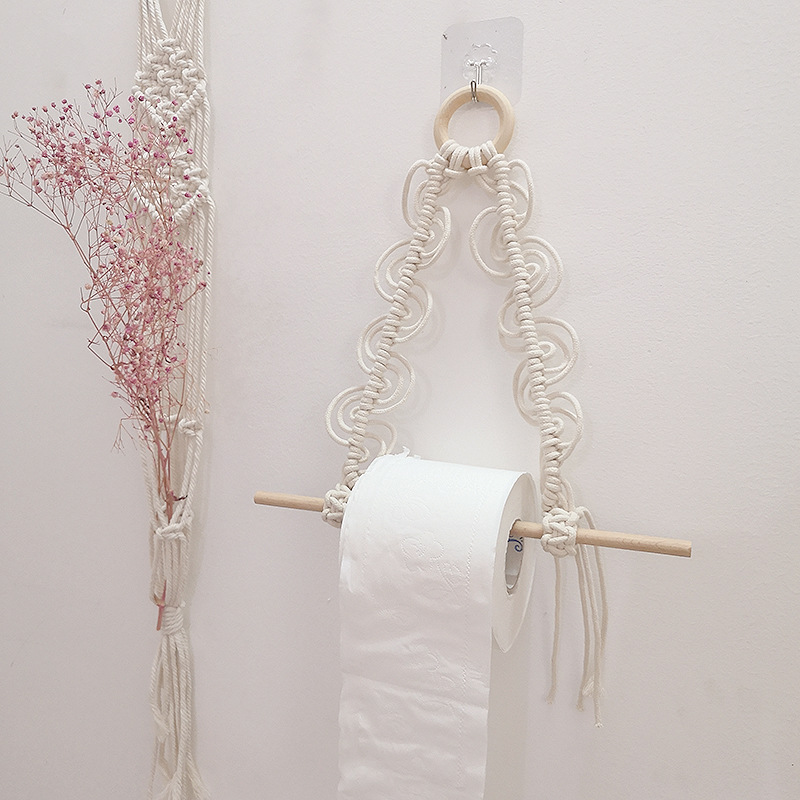 Macrame Toilet Rope Paper Holder Tapestry Towel Hanging Stand Kitchen Bathroom Hand-Woven Wall Mounted Storage Rack Decoration