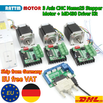 RUS/EU Delivery!! 3 Axis Controller Kit Nema23 270 Oz-in CNC Stepper Motor (Dual Shaft) 3A 76mm & Motor Driver for CNC Router image