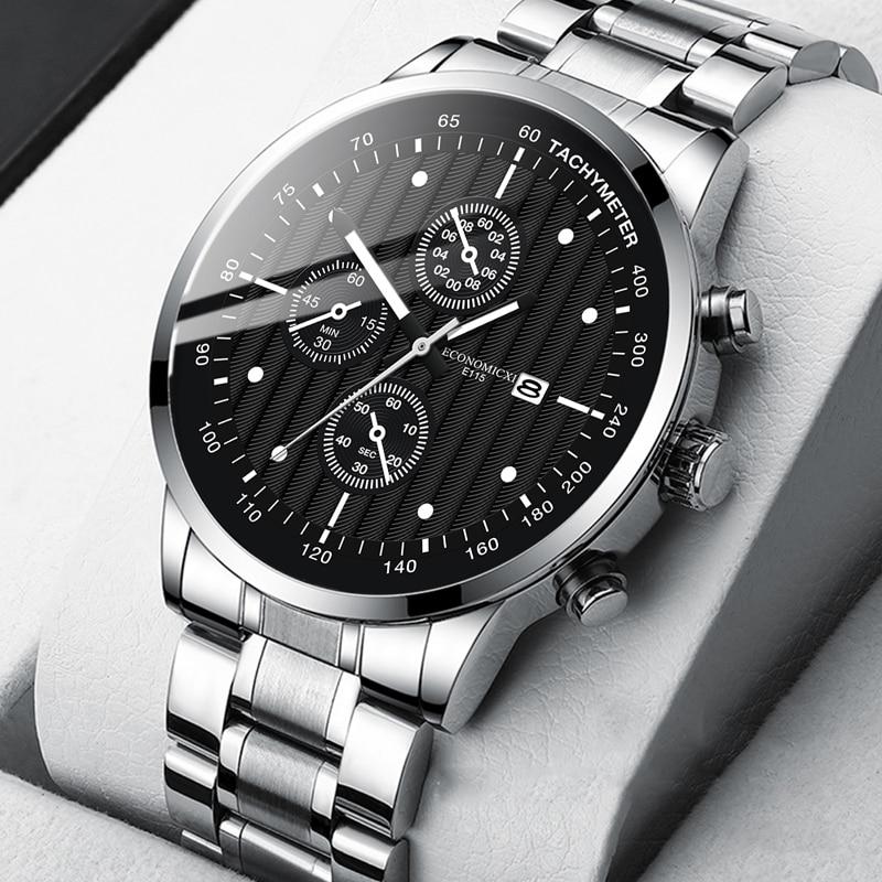 Кварцевые мужские часы, роскошные повседневные модные часы из нержавеющей стали, часы с датой, Подарочные Бизнес часы с ремешком для мужчин,...