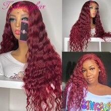 Красный бордовый цвет вьющиеся 13X4 кружевные передние человеческие волосы парик 180% # 99j бордовые бразильские волосы Remy на шнуровке передние ...