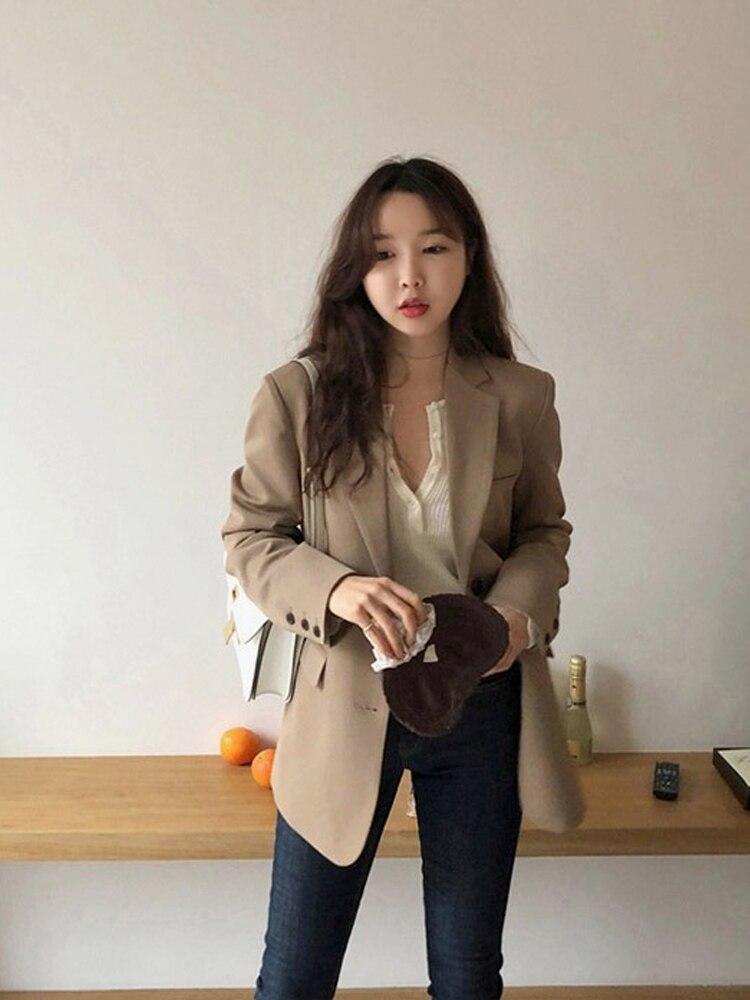 Vintage Loose Ladies Blazer Casual Solid Khaki Suit Jacket Simple Chamaras Mujer Korean Spring Autumn Women's Clothing MM60NXZ