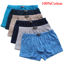 6pcs/lot Male Panties 100%Cotton Men's Underwear Boxers Breathable Man Boxer Solid Underpants Soft Comfortable Brand Shorts