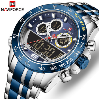 NAVIFORCE New Watches for Men Top Luxury Brand Big Sports Quartz Watch Mens Stainless Steel Chronograph Clock Relogio Masculino