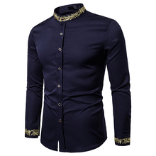 PUIMENTIUA New Autumn Embroidery Neck Shirt Men Long Sleeve Stand Collar Slim Fit Button Formal Occasion Shirts