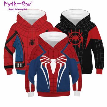 Jesień bluzy dziecięce pająk Superhero ubrania typu cosplay bluza dziecięca Junior dziecko nastolatek sweter 5-14y chłopięcy sweter z kapturem tanie i dobre opinie Myth-box Pasuje prawda na wymiar weź swój normalny rozmiar Szybkie suche Wokół szyi Pełna Dzianiny Poliester Knitted