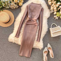 Teeuiear Vintage 2020 Slim Bandage Midi Pencil Dresses Autumn Winter Bodycon Knitted Sweater Party Women Club Knee Length Dress
