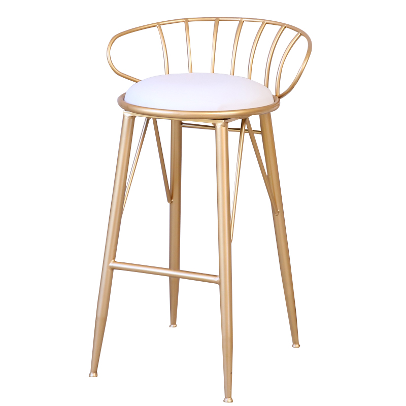H1 New Nordic Bar Stool Wrought Iron Bar Chair Gold Home High Stool Modern Dining Chair Metal Wire Bar Chair Bar Stools Modern