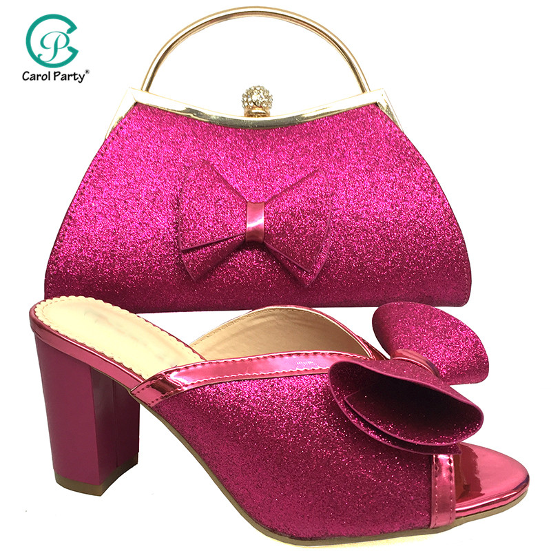 Magenta Color Hot Selling Italian Design Women Shoes For Wedding Party High Quality Shinning Crystal With Appliques For Party