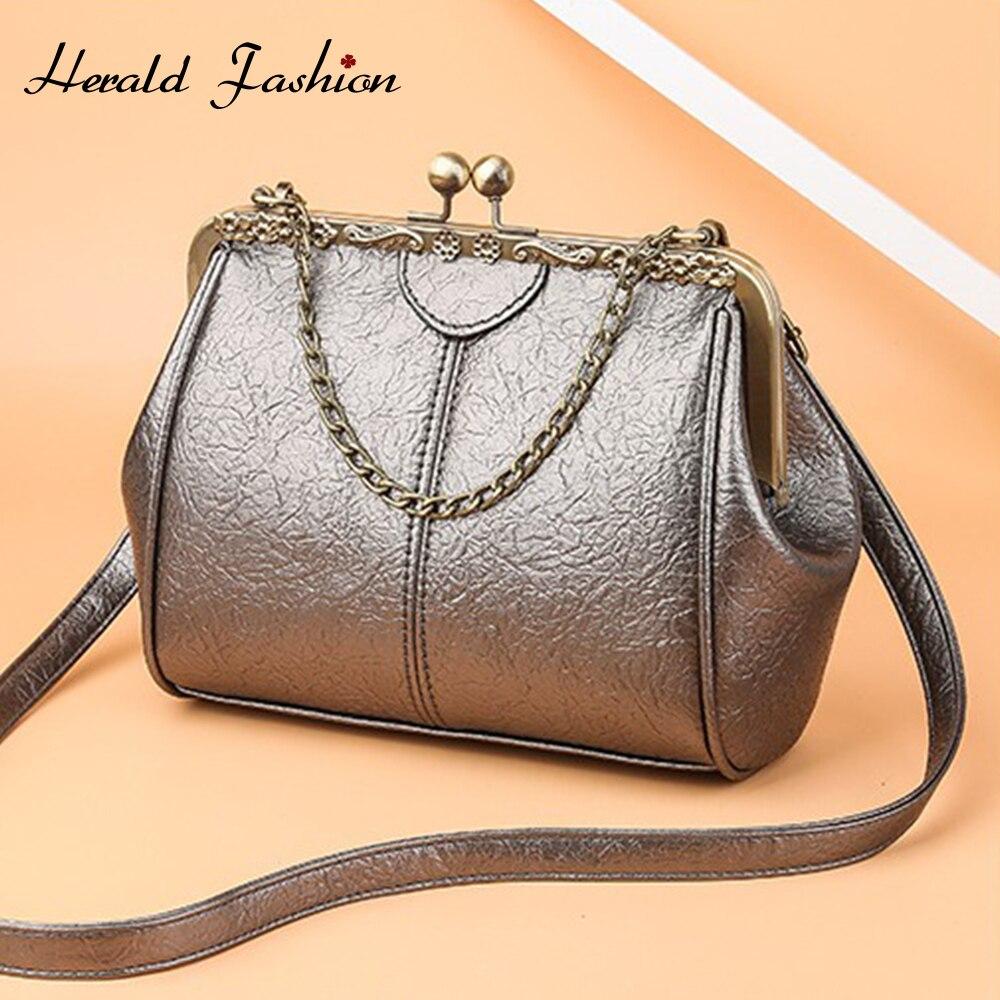 Herald Fashion Women Retro Doctor Bag Fashion Large Capacity Messenger Bag Ladies Shoulder Bag Chain Leather Handbag Brand New