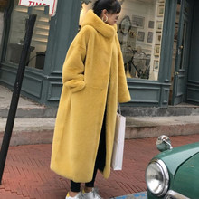 Sitruuna 2019 Winter Solid Hooded Women Faux Fur Coats ladies Thick Warm Outwear Fur Jackets female Loose Long Overcoat(China)