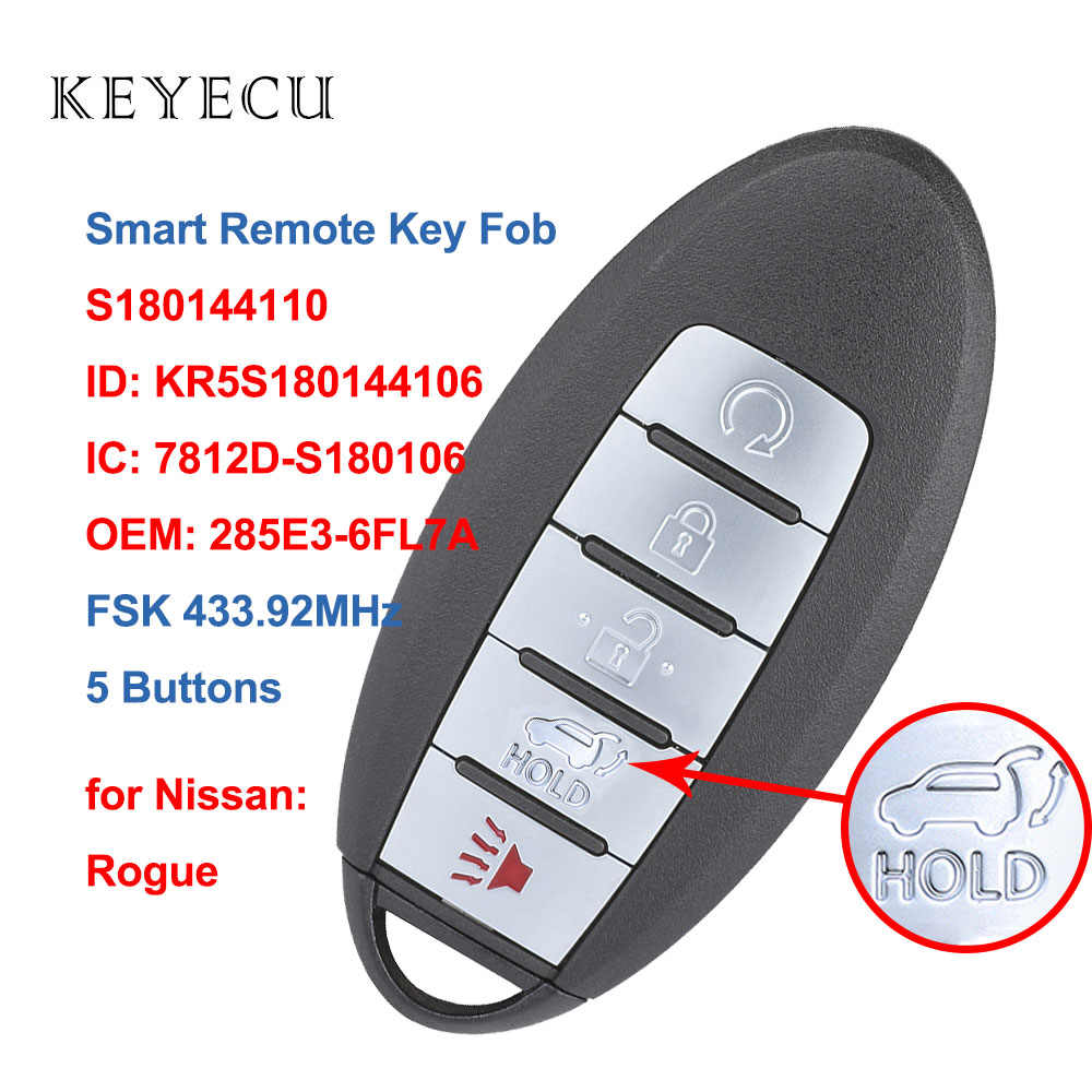 KR5S180144106 S180144110 TG Auto 5 Buttons Smart Key Proximity Keyless Entry Remote For 2017 2018 NISSAN Rogue Smart Key Proximity Keyless Remote Fob FCC ID