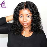 Deep Curly Lace Front Human Hair Wigs With Baby Hair Peruvian Remy Hair Short Bob Wigs For Women ALIMICE 13X4 Pre Plucked Wig