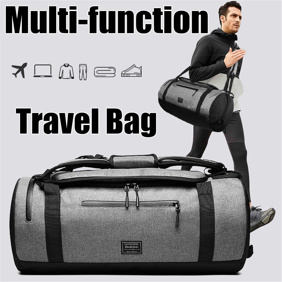 Bolsas de lona de viaje multifunción para hombre, bolsas deportivas para mujer, mochilas para ordenador portátil, bolsa de almacenamiento de viaje manual con bolsillo para zapatos