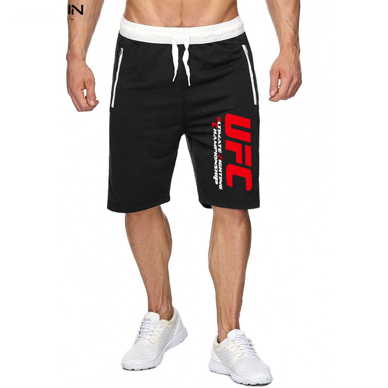 UFC Zipper Shorts Ouma Contrast Color MEN'S Casual Pants Ultimate Fighting Champion Printed Mixed Colors Shorts