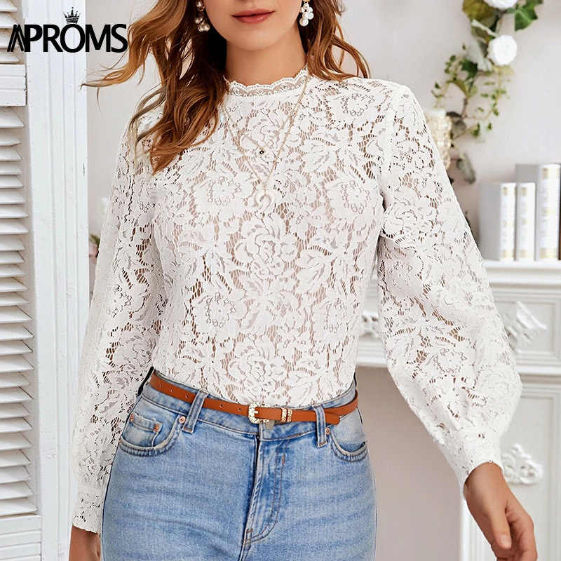 Womens Oversized Long Sleeve See Though Ruffle Shirt Lace Casual Party Tops Tee