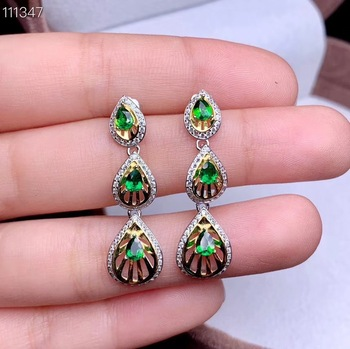 Super beautiful earrings, 925 silver inlay, luxury design, natural gems, diopside.