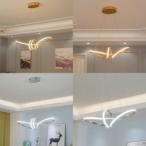 Image 4 - Lustre Led suspendu au design moderne, avec placage or chromé, luminaire décoratif dintérieur, idéal pour une salle à manger, une cuisine, un salon