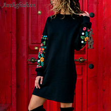 Woman Autumn Winter Dresses 4 Color Women Casual Long Sleeve Floral Embroidered Sweatshirt Prom Dress Short YXBD666