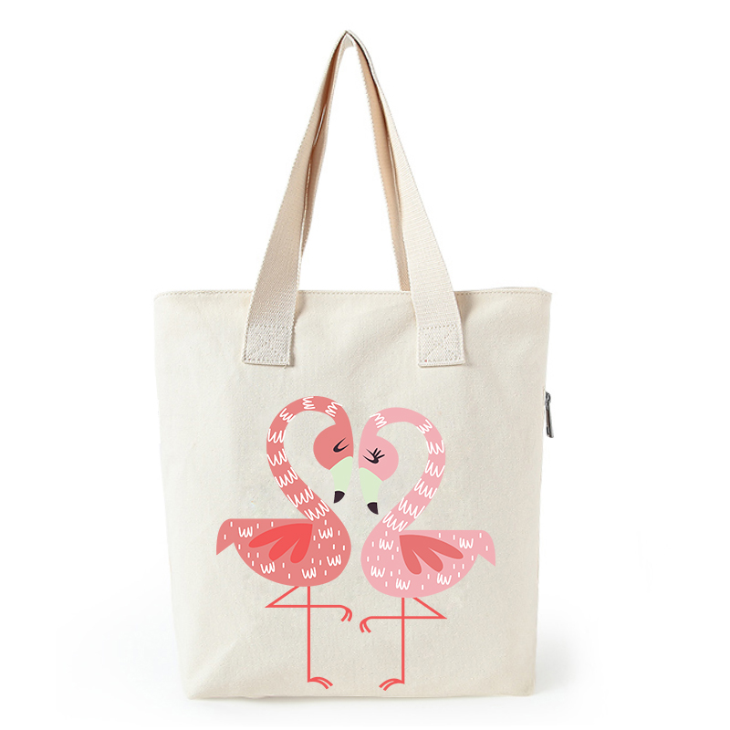 2019 Flamingo print canvas tote bag for women customized eco girl bags custom made shopping bags with logo in Shopping Bags from Luggage Bags