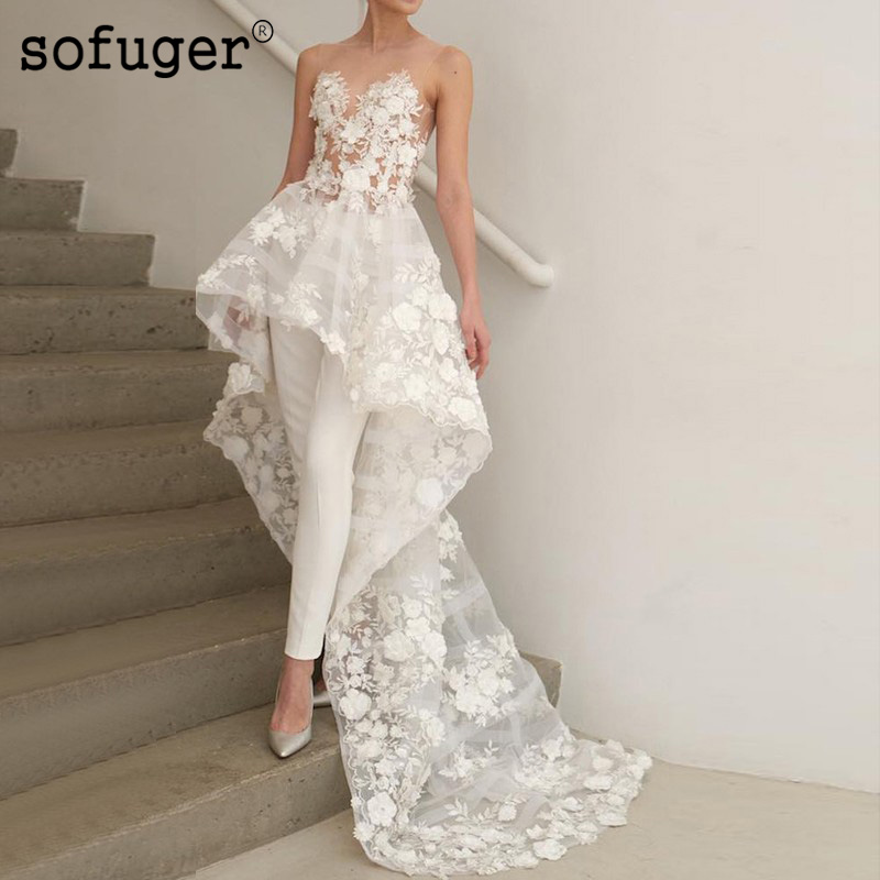 Elegant Ivory White Pants Wedding Dress Scoop Lace Appliques Robe De Mariee Sofuge Dubai Arabic Abiti Da Sposa