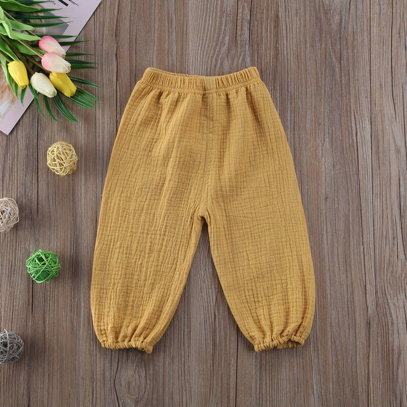 Baby Girls Boy Pants Wrinkled Cotton Vintage Bloomers Trousers Legging Solid Pants 6M-4T Toddler Infant Child Pants